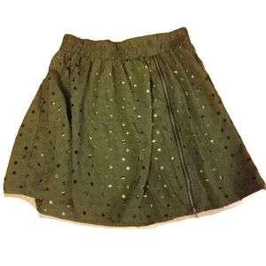 Teen Vogue Star Military Camo Olive Green Skirt S